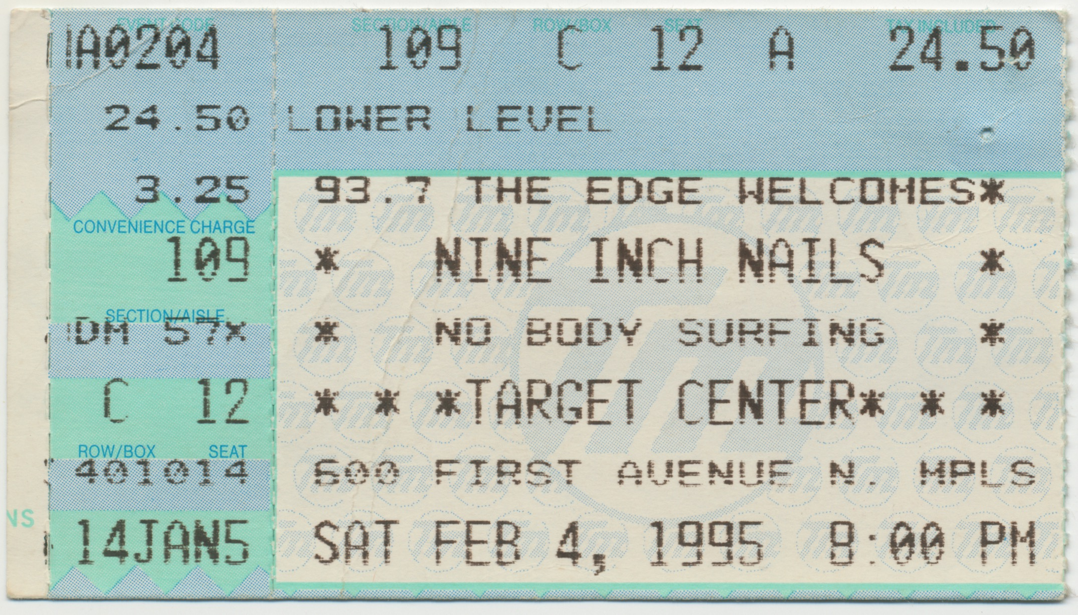 Nine Inch Nails Live Archive: NIN, February 04, 1995, Minneapolis ...