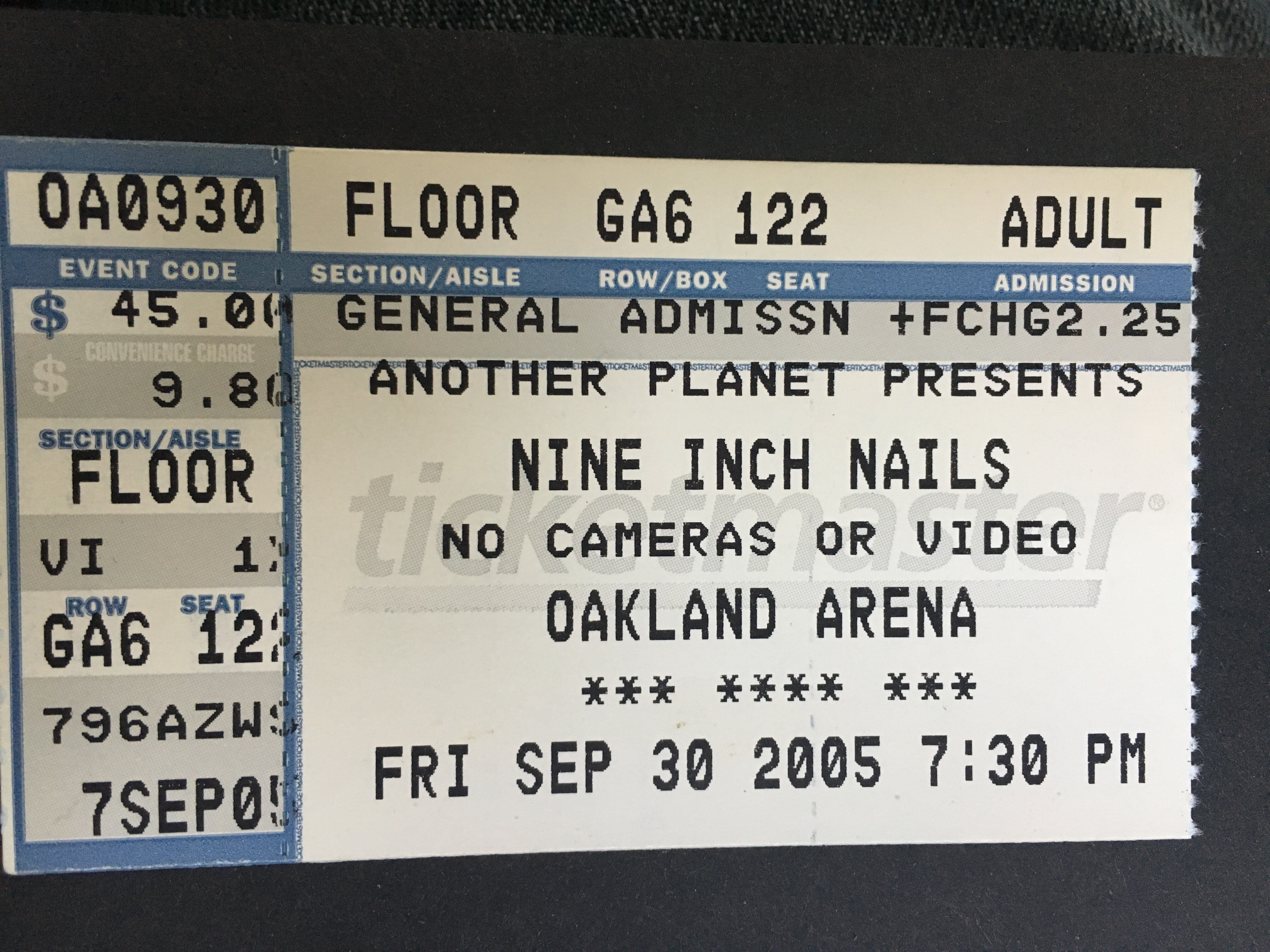 Oakland fall 05 Ticket