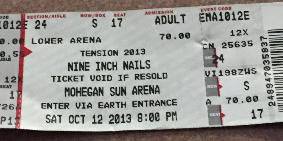 Nine Inch Nails Live Archive: NIN, October 12, 2013, Uncasville, CT ...