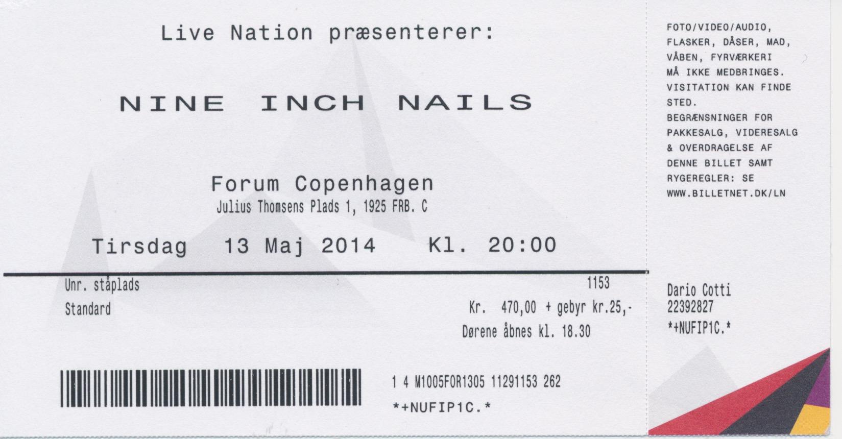 Nine Inch Nails Live Archive: NIN, May 13, 2014, Copenhagen, Denmark ...
