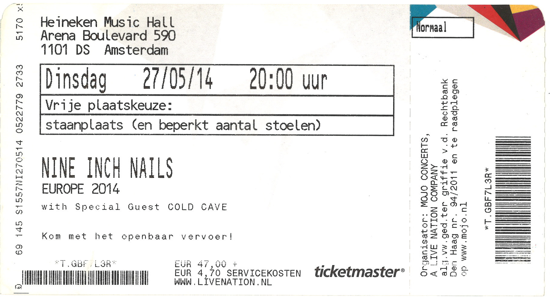 Nine Inch Nails Live Archive: NIN, May 27, 2014, Amsterdam, Holland ...